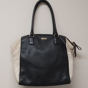 Kate Spade Black and Beige Leather Tote